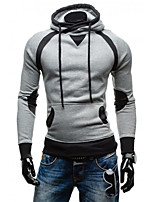Men's Daily Sports Going out Casual Hoodie Solid Hooded Micro-elastic Nylon Long Sleeve Winter Fall