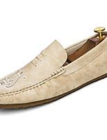 Hombre Zapatos Goma Otoño Mocasín Zapatos de taco bajo y Slip-On Para Negro Beige Caqui
