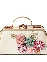 Women Bags All Seasons PU Evening Bag Flower(s) Pearl Detailing for Wedding Event/Party Gold White Black Blushing Pink Purple
