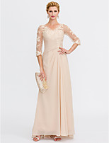 Sheath / Column V-neck Floor Length Chiffon Lace Mother of the Bride Dress with Lace Side Draping by LAN TING BRIDE®