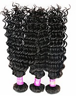 3 Pieces Natural Black Deep Wave Indian Human Hair Weaves Hair Extensions