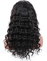 жен. Бразильские волосы Натуральные волосы 360 Лобовой 180% плотность С пушком Свободные волны Парик Черный Средний