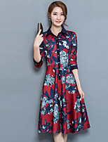 Women's Plus Size Going out Street chic Sheath Dress,Print Shirt Collar Midi Long Sleeves Polyester Fall Mid Rise Micro-elastic Medium