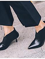 Femme Chaussures Cuir Automne Hiver Confort Bottes Talon Aiguille Bout pointu Bottine/Demi Botte Pour Décontracté Noir Vert