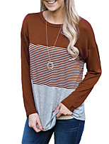 Women's Daily Going out Simple Style Spring Fall T-shirt,Striped Round Neck Long Sleeves Polyester Medium