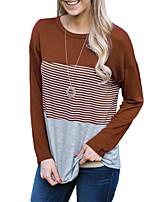 T-shirt Da donna Quotidiano Per uscire Stile semplice Primavera Autunno,A strisce Rotonda Poliestere Manica lunga Medio spessore