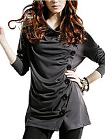 Women's Daily Holiday Casual Street chic Fall T-shirt,Solid Turtleneck 3/4 Length Sleeves Polyester