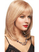 Women Human Hair Capless Wigs Medium Auburn/Bleach Blonde Black Medium Length Hot Sale
