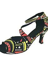 Для женщин Латина Натуральная кожа Сандалии Концертная обувь С пряжкой Кубинский каблук Черный Персонализируемая