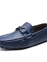 Men's Shoes Real Leather Fall Winter Comfort Loafers & Slip-Ons Polka Dot For Casual Party & Evening Blue Black White