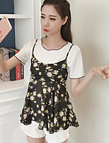 Women's Going out Cute Casual T-shirt,Solid Round Neck Short Sleeves Cotton