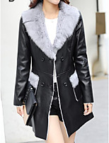 Women's Going out Street chic Winter Fur Coat,Solid V Neck Long Sleeve Long Faux Fur PU