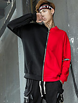 Men's Daily Casual Sweatshirt Color Block Stand Micro-elastic Polyester Sleeveless Fall
