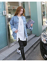 Women's Going out Casual/Daily Simple Spring Fall Denim Jacket,Solid Peter Pan Collar Long Sleeve Regular Cotton Others