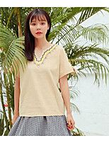 Women's Daily Going out Cute Summer T-shirt,Solid Embroidery Round Neck Short Sleeves Cotton Linen Medium