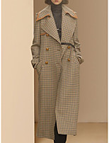 Women's Daily Going out Street chic Winter Fall Trench Coat,Houndstooth Peaked Lapel Long Polyester
