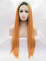 Women Synthetic Wig Lace Front Medium Length Long Straight Orange Ombre Hair Dark Roots Natural Hairline Lolita Wig Drag Wig Party Wig
