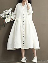 Women's Plus Size Casual/Daily Loose Dress,Solid V Neck Midi Long Sleeves Linen Fall Mid Rise Inelastic Medium