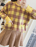 Women's Daily Going out Street chic Winter Fall T-shirt,Plaid Round Neck Long Sleeves Polyester Medium