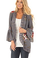 Women's Casual/Daily Casual/Daily All Seasons Blouse,Print Cowl Neck Long Sleeves Rayon Polyester Thin