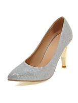 Feminino Sapatos Courino Primavera Outono Conforto Saltos Salto Agulha Dedo Apontado Para Casamento Social Dourado Preto Prateado Vermelho