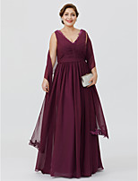 Sheath / Column V-neck Floor-length Chiffon Mother of the Bride Dress with Appliques Sash / Ribbon Criss Cross by LAN TING BRIDE®