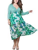 Women's Plus Size Casual/Daily Simple Loose Dress,Solid V Neck Maxi Midi Long Sleeves Polyester All Seasons Low Rise Micro-elastic Medium