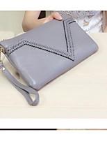 Women Bags All Seasons PU Cowhide Wallet Zipper for Casual Black Dark Blue Gray