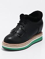 Mujer Zapatos Semicuero Primavera Otoño Confort Suelas con luz Botas Media plataforma Dedo redondo Botines/Hasta el Tobillo Con Cordón
