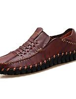 Hombre Zapatos Cuero Otoño Invierno Confort Mocasín Zapatos de taco bajo y Slip-On Para Casual Negro Marrón Wine