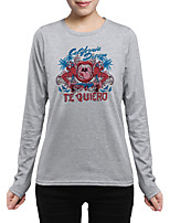 Women's Daily Going out Street chic Chinoiserie Fall T-shirt,Print Round Neck Long Sleeves Cotton Medium