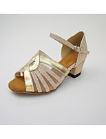 Women's Latin Tulle Leatherette Honeycomb Sandal Indoor Splicing Color Block Chunky Heel Gold Gray 1