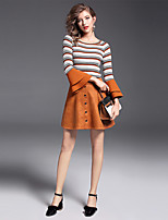 YIYEXINXIANG Women's Casual/Daily Work Simple Fall Sweater Skirt Suits,Striped Round Neck Long Sleeve Stretchy