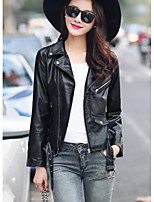 Women's Casual/Daily Simple Fall Leather Jacket,Solid Shirt Collar Long Sleeve Regular Polyester