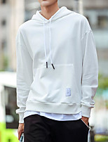 Men's Sports Hoodie Solid Hooded Micro-elastic Others Long Sleeve Spring Fall