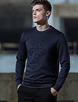 Men's Going out Sweatshirt Print Round Neck Micro-elastic Cotton Long Sleeve Winter