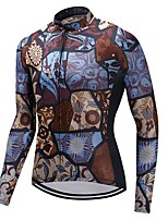 Cycling Jersey Unisex Long Sleeves Bike Jersey Quick Dry 100% Polyester Fleece Fashion Floral / Botanical Winter Mountain Cycling Cycling