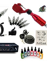 Starter Tattoo Kit 1 rotary machine liner & shader Mini power supply 7 × 15ml Tattoo Ink 5 x disposable grip Complete Kit
