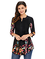 Women's Holiday Going out Boho Fall T-shirt,Print Round Neck 3/4 Length Sleeves Polyester Spandex Medium