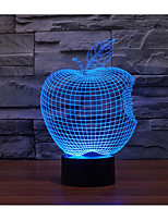 1 Set, Home Bedroom Acrylic 3D Night Light LED Lamp USB Mood Lamp, Available Battery, Colorful, 3W, Apple