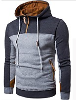 Men's Plus Size Casual Hoodie Color Block Hooded Micro-elastic Cotton Long Sleeve Winter Fall