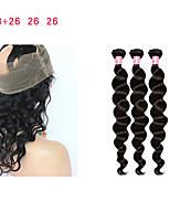 Недорогие -Натуральные волосы Реми Монгольские волосы Свободные волны Наращивание волос 4 Черный