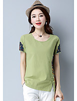 Women's Going out Chinoiserie Summer T-shirt,Embroidery Round Neck Short Sleeves Cotton Opaque