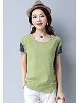 Damen Stickerei Chinoiserie Ausgehen T-shirt,Rundhalsausschnitt Sommer Kurzarm Baumwolle Undurchsichtig