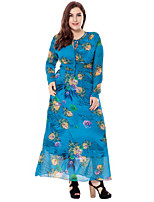 Women's Party Plus Size Going out Casual/Daily Vintage Simple Sophisticated Loose Sheath Swing Dress,Floral Round Neck Maxi Long Sleeves