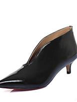 Feminino Sapatos Pele Real Verão Outono Conforto Botas Salto Sabrina Dedo Apontado Botas Curtas / Ankle Para Casual Branco Preto