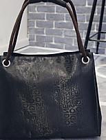 Women Bags All Seasons PU Tote Zipper for Casual Brown Purple Black