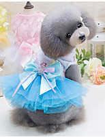 Dog Dress Dog Clothes Cotton Down Winter Spring/Fall Casual/Daily Floral/Botanical Green Blue Pink For Pets