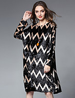 JIANRUYI Women's Party Boho Loose Dress,Color Block Round Neck Midi Long Sleeves Polyester Spandex Fall High Rise Inelastic Medium