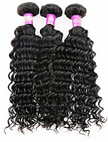 3 Pieces Natural Black Deep Wave Brazilian Human Hair Weaves Hair Extensions